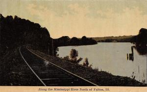Fulton Illinois~Railroad Tracks Parallel Mississippi North of Town~Dusk c1910