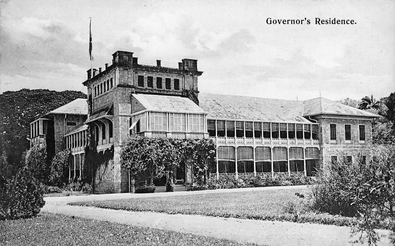 Governor's Residence Trinidad, British West Indies, early postcard, Unused