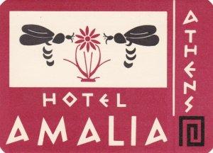 Greece Athens Hotel Amalia Vintage Luggage Label lbl0338