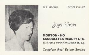 BC: VANCOUVER , B.C. , 50-70s ; Morton-Ho Realty Co, Joyce Pears
