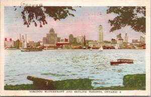 Waterfront and Skyline Toronto Ontario ON c1950 Vintage Linen Postcard D42