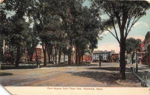 25807 MA, Westfield, 1915, Park Square from Town Hall, man standing in street