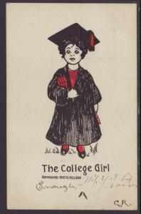 The College Girl,Hillson Postcard
