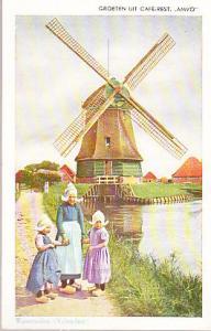 Netherlands - Three Girls and Windmill 1953