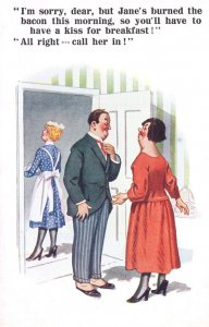 Kissing The House French Maid Instead Of Wife Comic Postcard