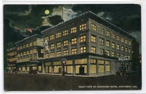 Sandford Hotel Moonlight Night View San Diego California 1915 postcard