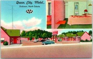 Dickinson, North Dakota Postcard QUEEN CITY MOTEL Highway 10 Roadside c1950s