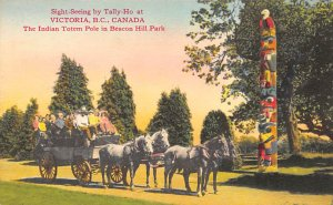 Indian Post Card Indian Totem Pole, Beacon Hill Park Victoria, BC, Canada Unused