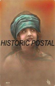 PRETTY YOUNG WOMAN-TURQUOISE HEADBAND~1910s PHOTO POSTCARD