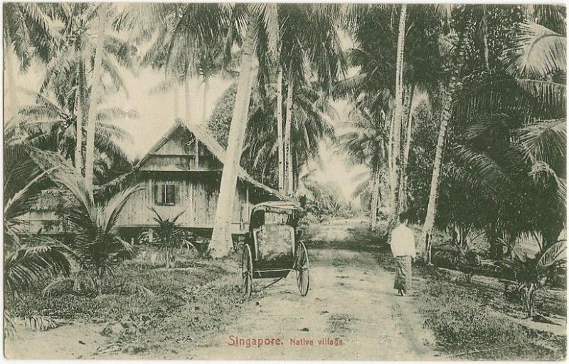 Singapore Native Village early postcard. Pub Max Hilckes