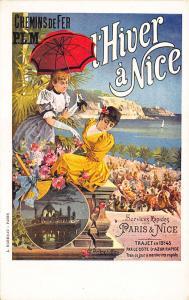 Paris - Nice Railroad Poster Artist Signed J. Hugo L' Alisa Postcard