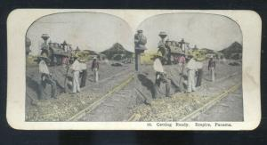 EMPIRE PANAMA RAILROAD TRAIN LOCOMOTIVE ENGINE VINTAGE STEREOVIEW CARD
