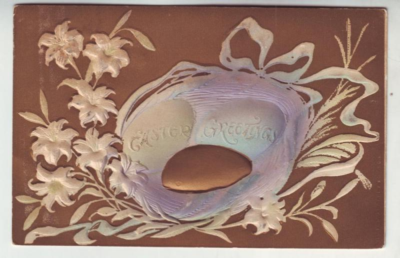 PC35 JLs postcard 1909 pm deep embossing easter eggs in nest
