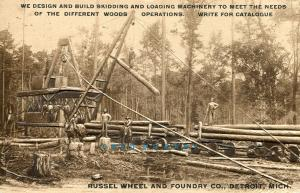 1907 Detroit MI Ad PC: Russel Wheel & Foundry, Skidding & Log-Loading Machines