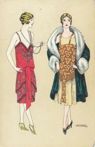 ART DECO ; WAITRED ; Dual Female Fashion portraits #2, 1910-20s