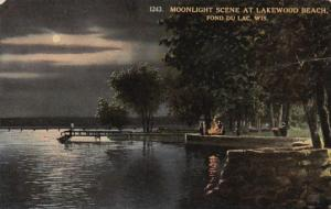 Wisconsin Fond Du Lac Moonlight Scene At Lakewood Beach 1913