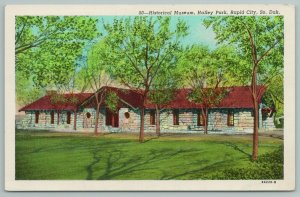 Rapid City South Dakota~Halley Park~Historical Museum~Linen Vintage Postcard