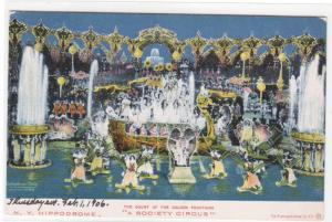 Court Golden Fountains Hippodrome New York City 1906 postcard
