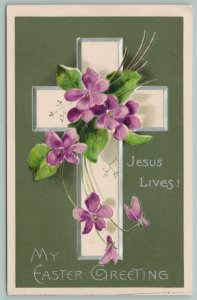 Easter~Cross With Purple Flowers~Silver Edged~Jesus Lives!~Green Back~Embossed