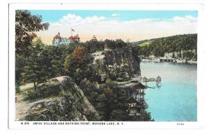 Mohonk Lake NY Swiss Village Bathing Point Vintage 1935 New York Postcard