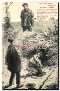Old Postcard Our good peasants hunting offense (torque policeman rifle)