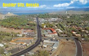 Boulder City Nevada Bird's Eye View~Street-Houses-Hotels-River? Bknd~1960s Pc