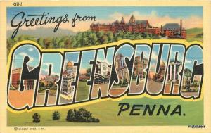 1943 Greensburg Pennsylvania Large letters multi view Teich postcard 7474
