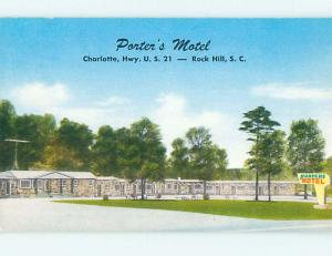 Unused Pre-1980 PORTERS MOTEL Rock Hill South Carolina SC n8671