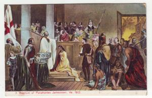 P1189a old postcard unused history baptism pocahontas jamestown virginia #1613