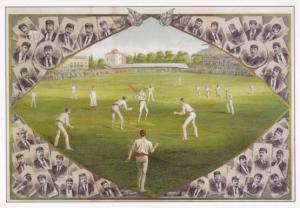 Australian Englishj  Victorian Cricketers 1886 Ashes Cricket Painting Postcard