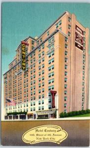 New York City Postcard HOTEL CENTURY 46th Street at 6th Avenue Linen c1940s