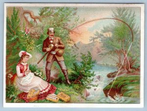 1880 CALENDAR J&P COATS THREAD FISHING ROMANTIC COUPLE VICTORIAN TRADE CARD