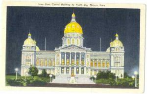 Iowa State Capitol Building by Night, Des Moines, IA, 1943 Linen