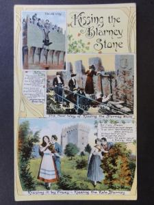 Ireland KISSING THE BLARNEY STONE Multiview - Old Postcard by The Milton No.802