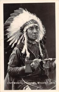 E6/ Native American Indian RPPC Postcard 1949 Wisconsin Chief Walking Daylight38