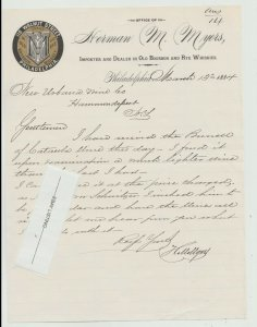 1884 Letterhead PHILADELPHIA PA  BOURBON WHISKEY WINE HERMAN MYERS