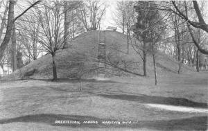 Marietta Ohio~Prehistoric Mound~Stairway to Benches~Bare Trees~c1950s RPPC