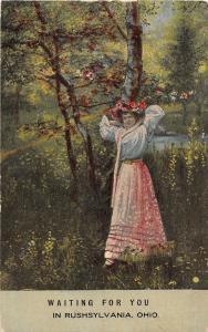 C34/ Rushylvania Ohio Postcard c1910 Woman Waiting for You Romance