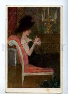 233354 BELLE Lady in Black by AXENTOWICZ vintage ART NOUVEAU