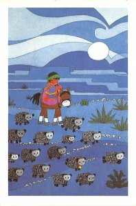 Indian on a horse with sheep Cartoon Indian Unused