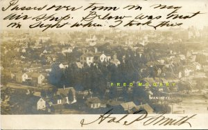 1906 Manistee Michigan Real Photo Postcard: Taken From Hal P. Smith's Airship!