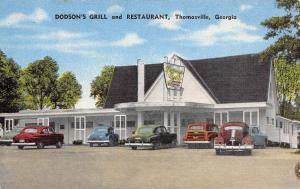 Georgia Ga Postcard '53 Roadside THOMASVILLE Dodson's Grill and Restaurant Linen