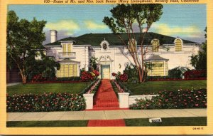 California Beverly Hills Home Of Mr and Mrs Jack Benny (Mary Liingstone) Curt...