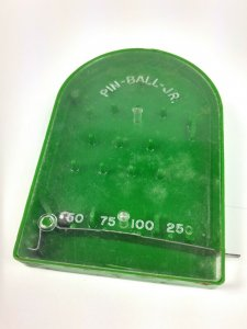 Vintage Pinball Jr Junior Handheld Mini Game Green 3-7/8 Pin-Ball-Jr