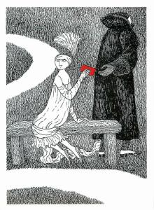 Woman on Bench Passes a Message Furtively by Edward Gorey - Large Postcard