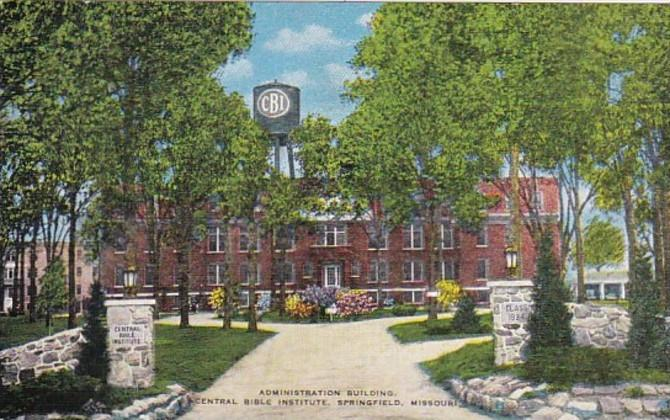 Missouri Springfield Administration Building Central Bible Institute 1954