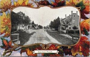 Plattsville Ontario Street Scene Maple Leaf Border c1913 Postcard F50