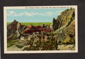 SD Vampire Valley Cedar Pass Bad Lands Nat Monument South Dakota Postcard