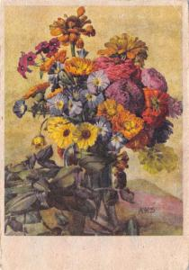 Vintage Art Postcard Flowers Serie Gloria by Aquarelle Von Kloubek Schrutz AKS F
