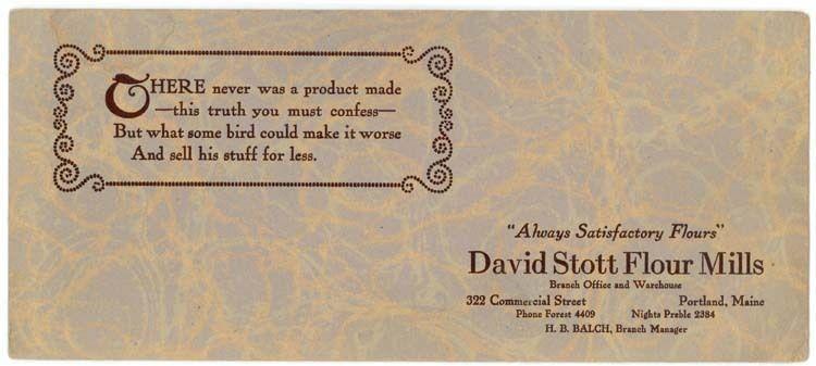 Portland, ME, David Stott Flour Mills advertising blotter / HipPostcard